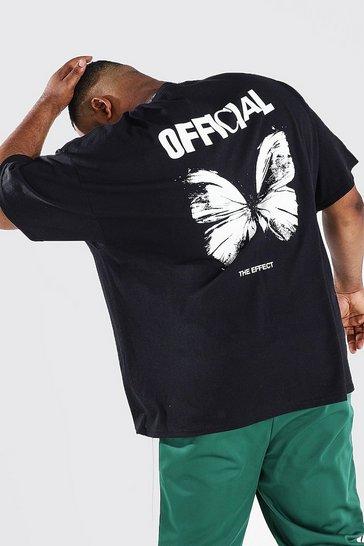 Black Plus Size Butterfly Back Print T-shirt