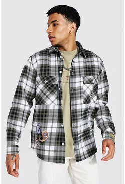 Sage green Oversized Bandana Badge Flannel Shirt