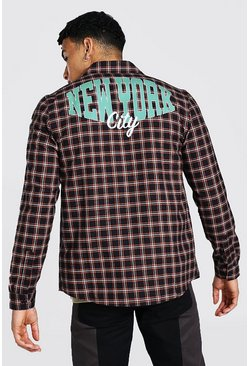 New York Back Print Check Shirt, Orange