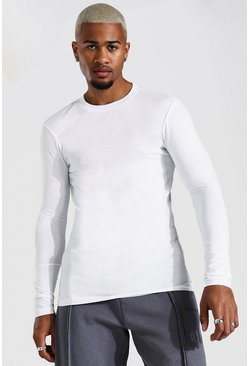 White Muscle Fit Long Sleeve T-shirt