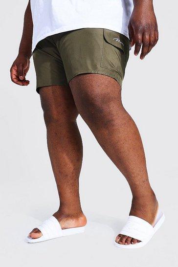 Khaki Plus Size Man Script Cargo Swim Short
