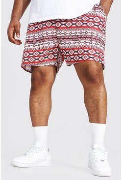 Red Plus Size Aztec Mid Length Swim Short