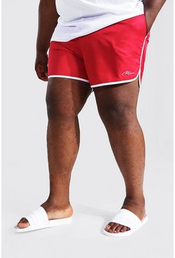 Red Plus Size Man Script Runner Swim Short