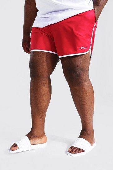 Red Plus Size Man Script Runner Swim Short