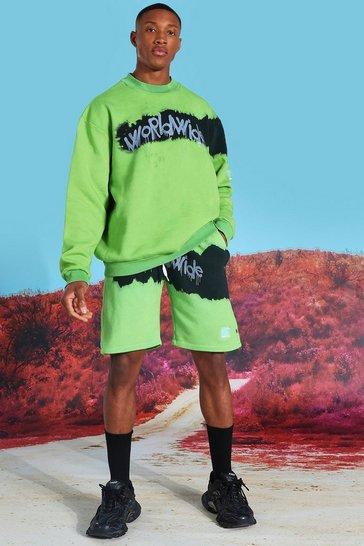 Green Oversized Tie Dye Short Sweater Tracksuit