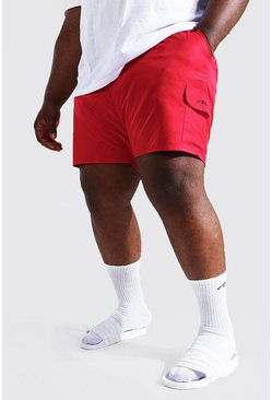 Red Plus Size Man Script Cargo Swim Short