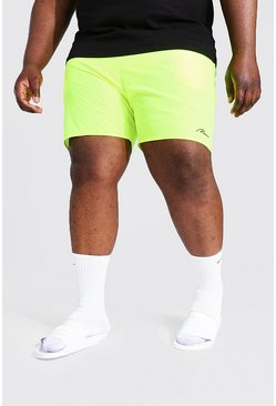 Lime Plus Size Man Script Swim Short