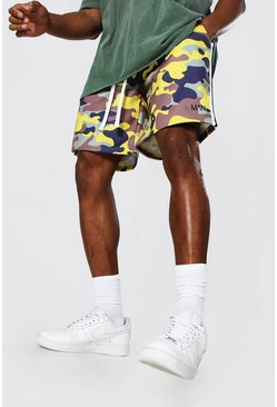 Yellow Loose Original Man Camo Side Panel Shorts
