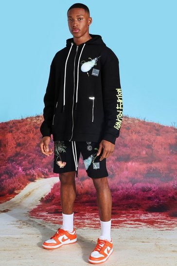 Black Oversized Graphic Zip Hooded Short Tracksuit