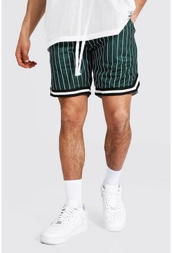 Green Airtex Pinstripe Basketball Shorts With Tape