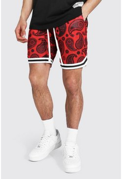Red Airtex Bandana Basketball Shorts With Tape