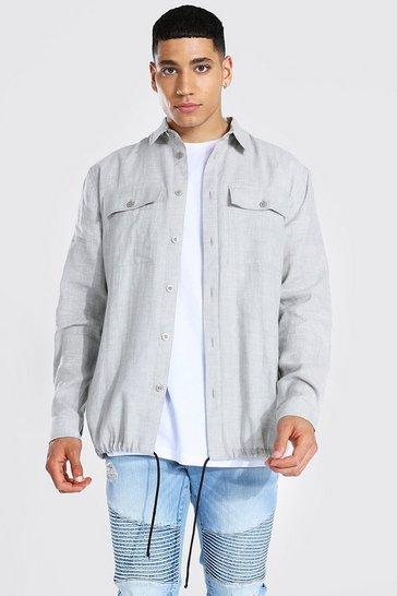 Grey Crosshatch Textured Overshirt