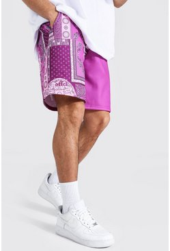 Loose Fit Spliced Bandana Jersey Short, Purple Фиолетовый