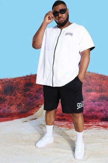 Black Plus Reversible Mesh Shirt And Short Set