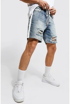 Relaxed Fit Side Stripe Ripped Denim Short, Antique blue