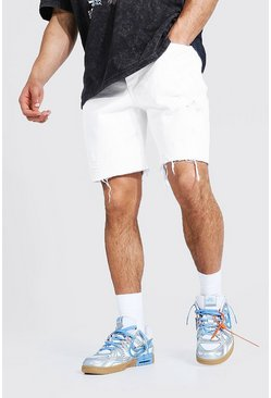 White Relaxed Fit Multi Rip Frayed Hem Denim Short