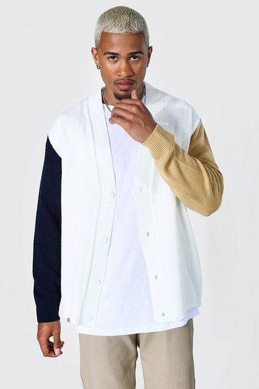 Ecru white Colourblock Varsity Oversized Cardigan