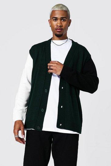Green Colour Block Varsity Oversized Cardigan