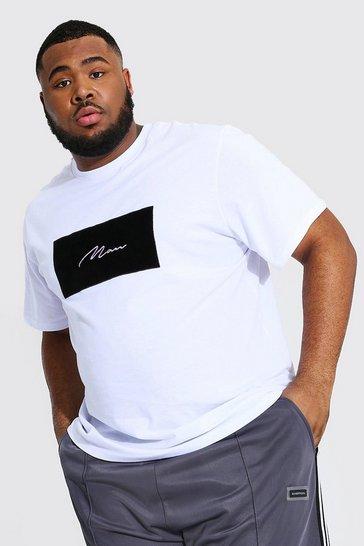 White Plus Size Man Script Velour Box Print T-shirt