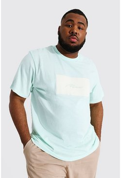 Khaki Plus Size Man Script Velour Box Print T-shirt