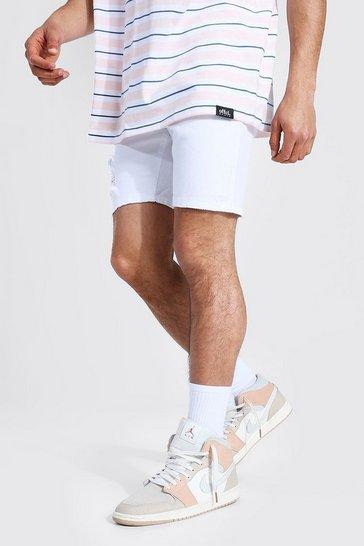 White Skinny Stretch Distressed Denim Short