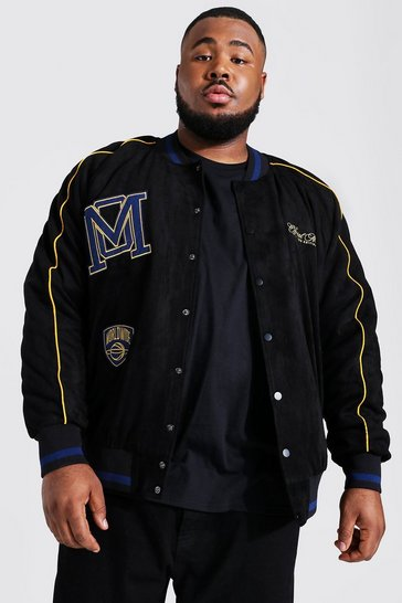 Black Plus Suedette Varsity Jacket With Piping