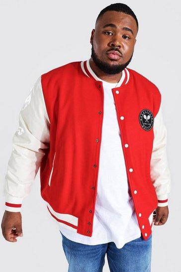 Red Plus Tennis Badge Varsity Jacket