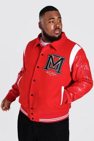 Red Plus Contrast Panel Harrington Varsity Jacket