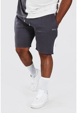 Slate grey Plus Man Mid Jersey Short With Side Panel