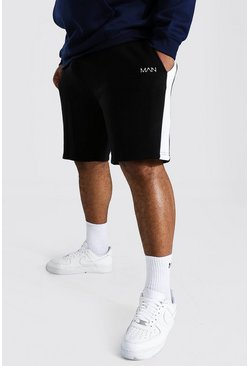 Black Plus Man Mid Jersey Short With Side Panel
