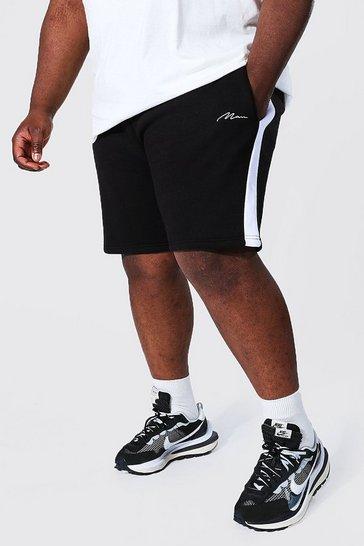 Black Plus Man Signature Side Panel Jersey Short