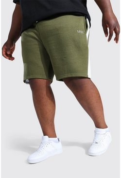 Khaki Plus Man Mid Jersey Short With Side Panel