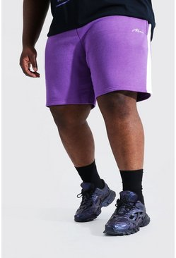 Purple lila Plus - Man Signature Jerseyshorts med sidopaneler