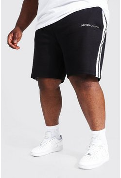Black Plus Man Official Jersey Short With Side Tape