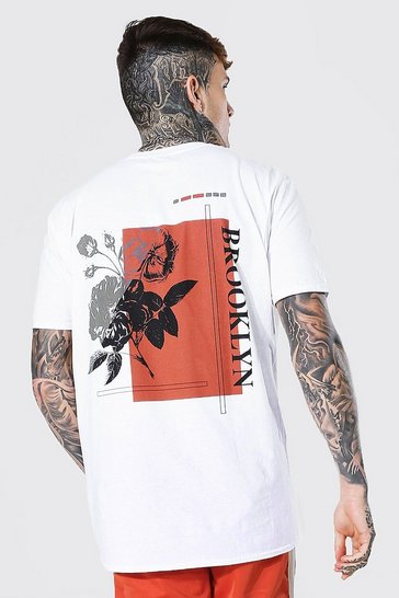White Oversized Brooklyn Back Print T-shirt