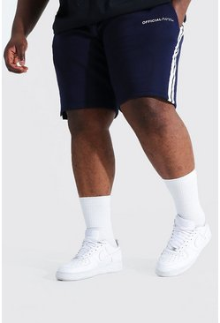 Navy marinblå Plus - MAN Official Jerseyshorts med kantband