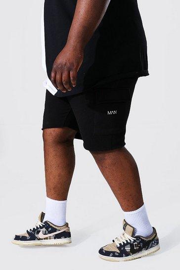 Black Plus Man Cargo Jersey Short With Raw Hem
