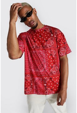 Red Oversized Bandana Patchwork T-shirt
