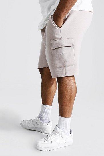 Stone beige Plus Man Cargo Jersey Short With Raw Hem