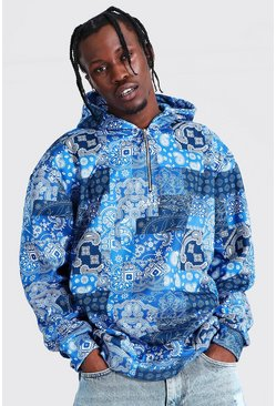 Blue Oversized Original Man Bandana 1/4 Zip Hoodie