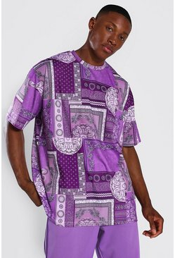 Oversized Bandana Patchwork T-shirt, Purple viola