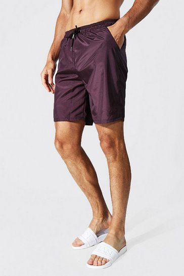 Chocolate brown Tall Tonal Man Embroidered Mid Swim Short