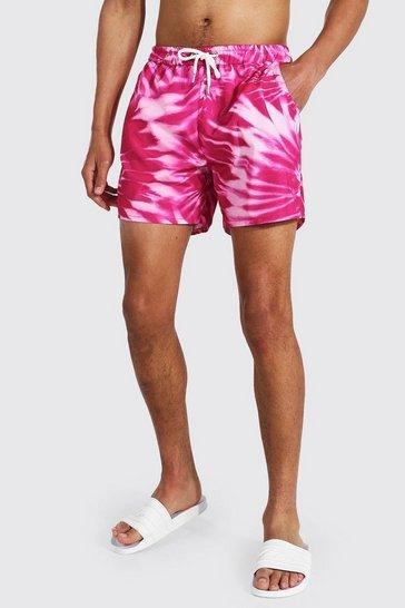 Pink Tall Swirl Tie Dye Short Length Swim Shorts