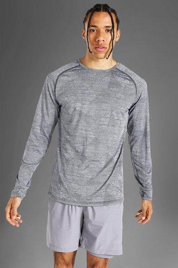 Grey Tall Man Active Raglan Patterned Long Sleeve