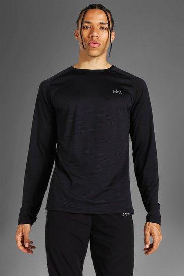 Black Tall Man Active Raglan Patterned Long Sleeve