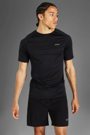 Black Tall Man Active Raglan Muscle Fit Patterned T