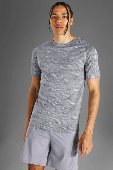 Grey Tall Man Active Raglan Muscle Fit Patterned T