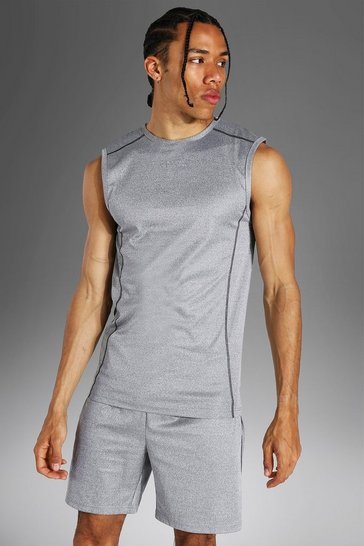 Grey Tall Man Active Muscle Fit Sleeveless Tank