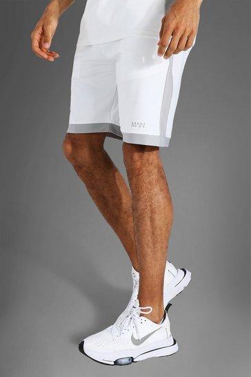 White Tall Man Active Loose Training Shorts
