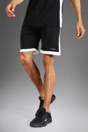 Black Tall Man Active Loose Training Shorts